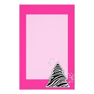 Papeterie Arbre de Noël rose de zèbre