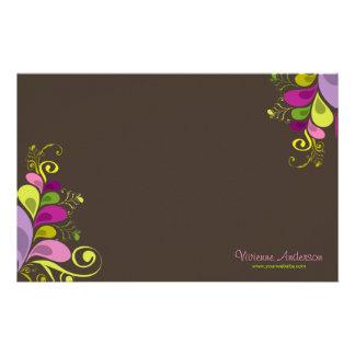 Papeterie Art déco floral coloré de nature de feuille de