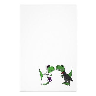 Papeterie Art drôle de mariage de jeunes mariés de dinosaure