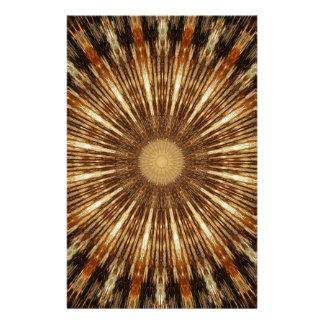 Papeterie Art orange foncé de mandala de kaléidoscope de