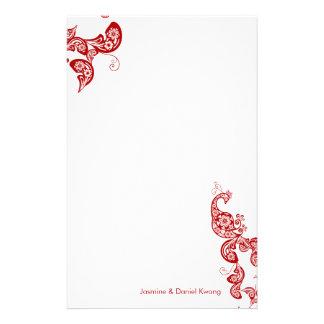 Papeterie asiatique chic de mariage de paon floral