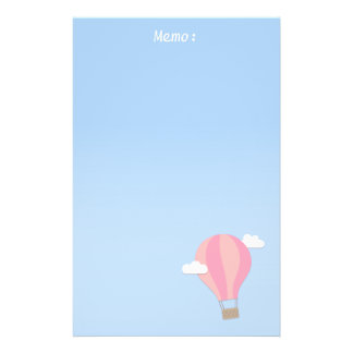 Papeterie Ballon à air chaud rose, aventure parmi les nuages