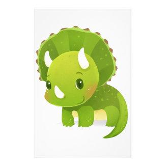 Papeterie bande dessinée mignonne de dinosaure de bébé vert