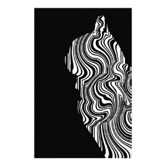 Papeterie Black and White Cat Swirl abstrait monochrome