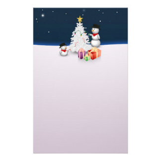 Papeterie Bonhommes de neige mignons avec l'arbre de Noël -