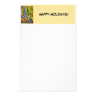 Papeterie Bonnes fêtes collage jaune d'arbre