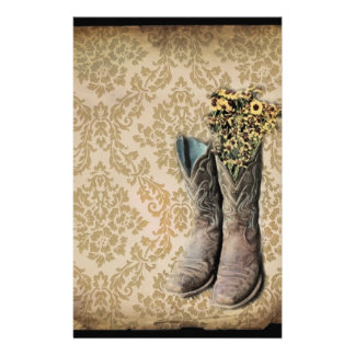 Papeterie Bottes de cowboy de pays occidental de fleur