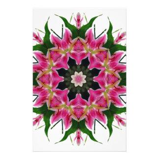 Papeterie Bouquet floral de mandala de lis rose botanique