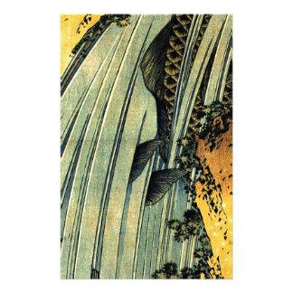Papeterie Carpe deux dans une cascade par Katsushika Hokusai