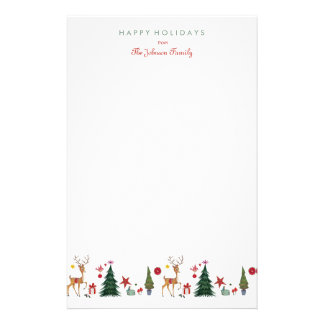 Papeterie Cerfs communs et arbre | du Joyeux Noël |