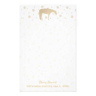 Papeterie Cheval occidental blanc d'or de parchemin de