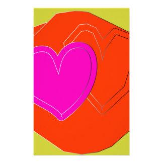 Papeterie coeur de deux couleurs
