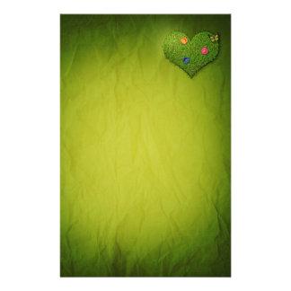 Papeterie Coeur romantique d'herbe - en-tête de lettre de