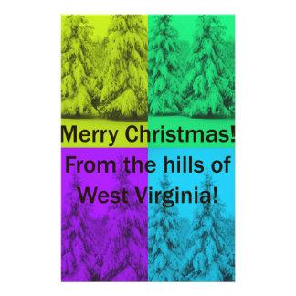 Papeterie Collage d'arbre de Joyeux Noël de la Virginie