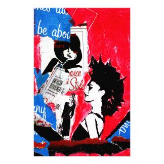 Papeterie Collage d'étoile de punk rock avec le rose, le
