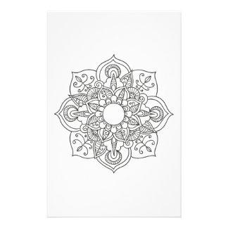 Papeterie Coloration blanche noire d'ornement floral de