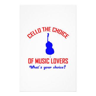 Papeterie conception d'amants de violoncelle