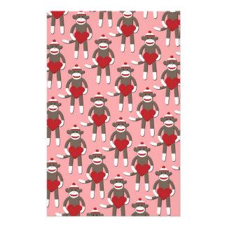 Papeterie Copie de singe de chaussette de coeur de Valentine