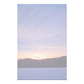 Papeterie Coucher du soleil au-dessus de lac et d'arbres
