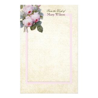 Papeterie Coutume de bouquet de roses de Bourbon de