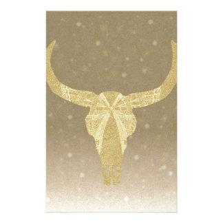 Papeterie Crâne de vache à scintillement d'or