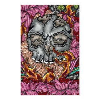 Papeterie Crâne et roses avec une main brûlante