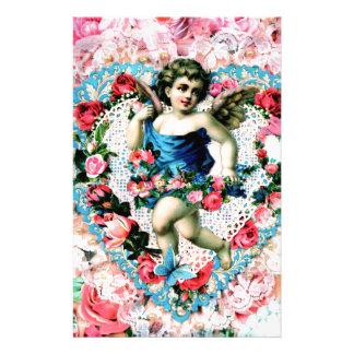 Papeterie Cru rose de roses d'ange victorien