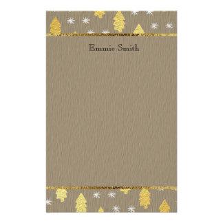 Papeterie d'arbre de Noël de Brown et d'or