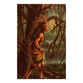 Papeterie Dessin vintage : Pocahontas, princesse indienne