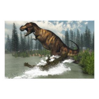 Papeterie Dinosaure de rex de Tyrannosaurus attaqué par