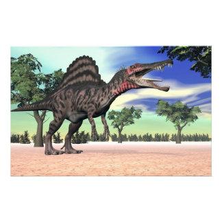 Papeterie Dinosaure de Spinosaurus dans le désert - 3D