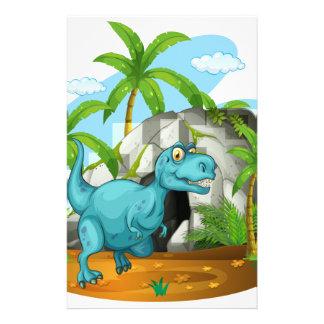 Papeterie Dinosaure devant la caverne