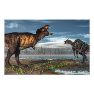 Papeterie Dinosaures de rex et de saurolophus de