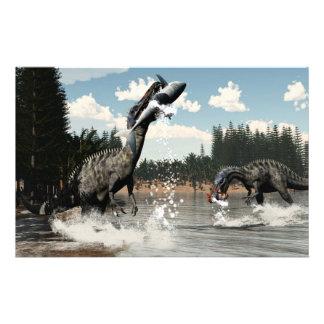 Papeterie Dinosaures de Suchomimus pêchant les poissons et