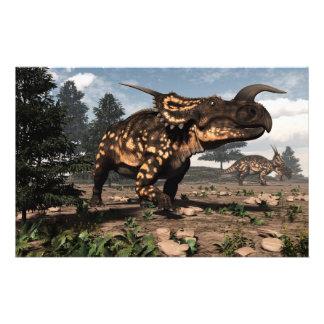 Papeterie Dinosaures d'Einiosaurus dans le désert - 3D