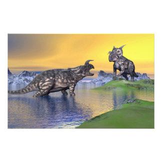 Papeterie Dinosaures d'Einiosaurus par coucher du soleil -