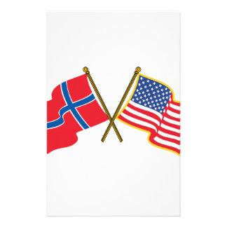 Papeterie Drapeaux américains norvégiens