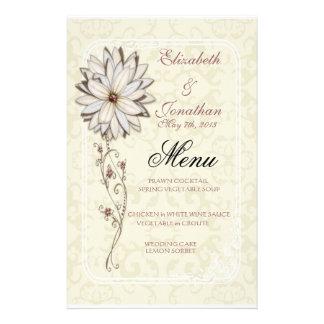 Papeterie élégante de menu de mariage