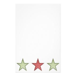 Papeterie Étoile verte et rouge Staionery de KRW de Noël