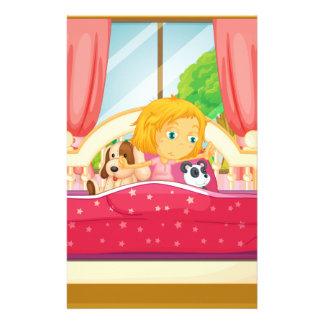 Papeterie Fille dans le lit se levant
