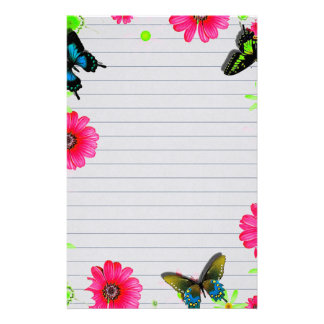 Papeterie Fleurs et papillons