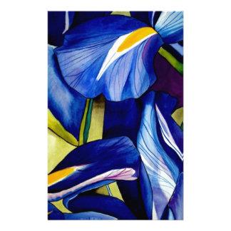 Papeterie Fleurs originales d'aquarelle d'art d'iris bleu