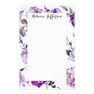 Papeterie Fleurs pourpres lilas violettes Girly élégantes