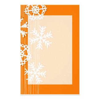 Papeterie Flocons de neige modernes de blanc de Noël orange