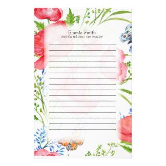 Papeterie Floral rouge et bleu personnalisé et papillons