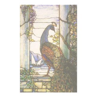 Papeterie florale d'oiseau de paon de Nouveau