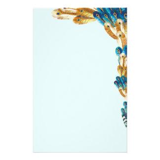 Papeterie Frontière bleue de plume de paon d'or et en métal