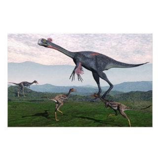 Papeterie Gigantoraptor et petits dinosaures de mononykus -
