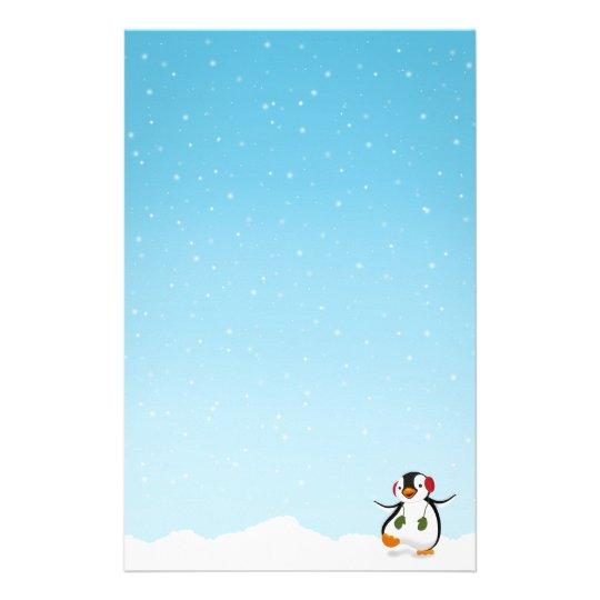 Papeterie Hiver drôle mignon de pingouin - en-tête de lettre