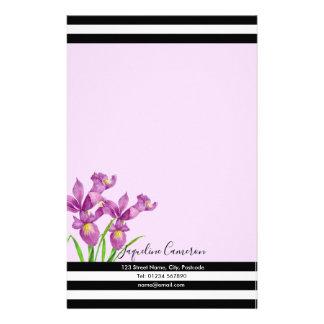 Papeterie Illustration botanique d'iris pourpre d'aquarelle